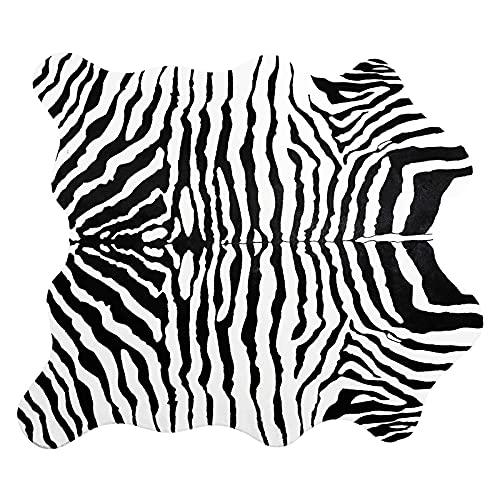 AIWQTO Non-Slip Synthétique Faux Tapis De Sol en Fourrure pour Chambre à Coucher Salon,Tapis De Zone d'impression Faux Zèbre,Zebra Print Soft Fluffy Fur Tapis-Zèbre 140x160cm(55x63inch)
