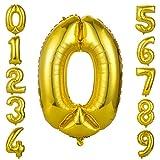 GWHOLE Globos Número 0, Globo Color Oro Globo Grande de Aluminio 1 2 3 4 5 6 7 8 9, Globos para Fiestas de Cumpleaños, Aniversario