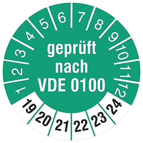 100 Stück Prüfplaketten 30 mm Prüfeketten Geprüft nach VDE 0100 2019-2024 Rollenware stark haftend