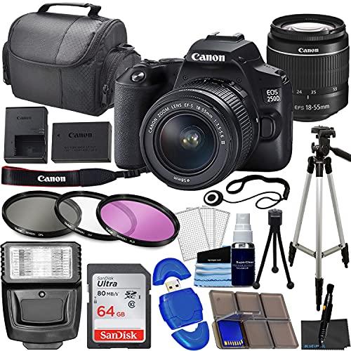 Canon EOS 250D (Rebel SL3) DSLR Camera Bundle with 18-55mm STM Lens + 64GB Memory Card, 3 Piece Filter Kit, Tripod, Flash & More