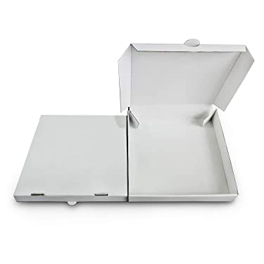 """6"""" Premium White Mini Corrugated Pizza Boxes Take Out Containers (10 Pack) (6"""" Length x 6"""" Width x 1.5"""" Depth)"""