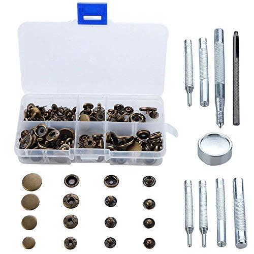 Alapaste Heavy-Duty Snap Fastener Tool Kit 40 Sets Bronze Snap Fastener Tools Leather Button Tool Press Studs with 5 Pieces Fixing and Repairing Tools Snap Installation Set Hand Tools