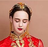 Tiara Adornos para El Cabello Adornos para La Novia Corona China De Phoenix Flor De Cabeza Femenina Cabello En Espiral Estética Simple Noble Gold Delicate Elegance Sagrado Accesorios De Vestir Trajes