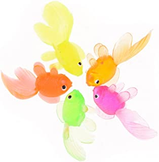 Ireav Soft Rubber Gold Fish - 50 Pieces Small Goldfish Bath Toy Christmas Birthday Party Kids Toy Plastic Simulation Small...
