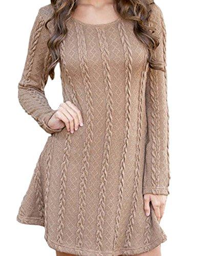 EMMA Dames lente 2018 Elegant casual ronde hals lange mouwen gehaakte gebreide jurk tuniek sweater trui kleding basic slim grof chunky comfort swing jumper top jurk plus maat