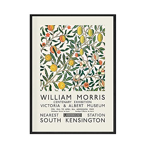 Carteles e impresiones de William Morris, póster de exposición, arte de pared, cuadro de flores y pájaros, pintura en lienzo para habitación, decoración del hogar, B 60x80cm