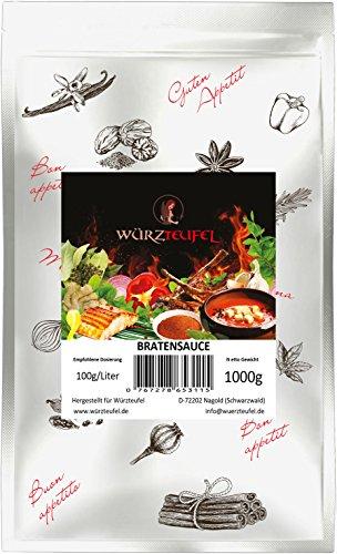 Bratensoße, Braten - Sauce in Restaurantqualität. Vegan. Frei von Geschmacksverstärkern. Kalorienreduziert. Beutel 1000g (1KG ca. 350 Portionen).