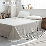 Simple&Opulence 100% Stone Washed Linen Embroidered Solid Flat Sheet (Linen, Queen)