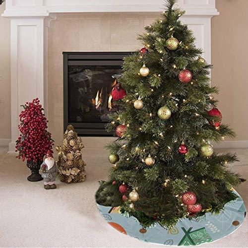 ZHANGhome Falda de árbol de Navidad Hermosa Tienda de Herramientas para el hogar móvil Tienda de campaña Impresión Divertida Falda de árbol de Navidad Poliéster Falda de árbol de Verano Alfombra para