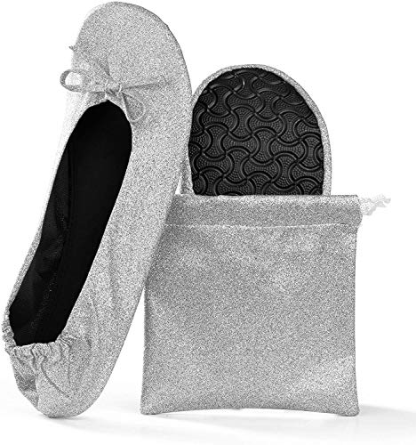 Women's Foldable Portable Travel Ballet Flat Roll Up Slipper Shoes (Large, Silver - Sparkle)