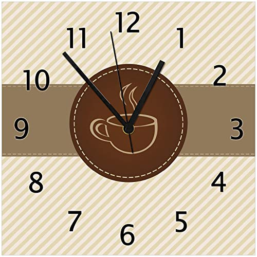 Wallario Glas-Uhr Echtglas Wanduhr Motivuhr • in Premium-Qualität • Größe: 30x30cm • Motiv: Kaffee-Menü - Logo Symbol für Kaffee