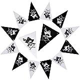eZAKKA 2,5 m Bandiera Pirata gagliardetto Bandiere a Catena, Decorazione per camerette, Compleanni, Gioco di Ruolo (13 x 19 cm)