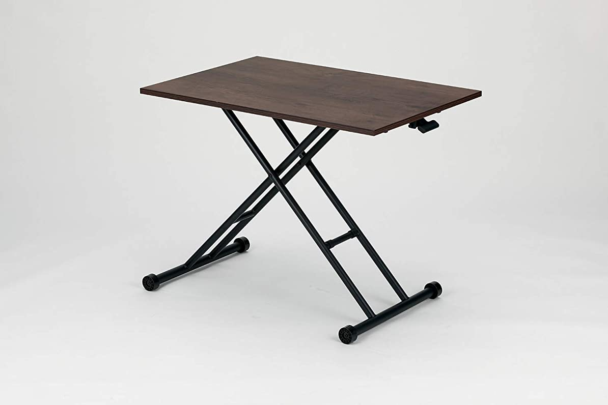 ワイプ攻撃的記念日ガス圧昇降テーブル コンパクト ブラウン 横幅90×奥行60×高さ10~71.5cm / ガス圧昇降テーブル 無段階