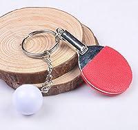 キーホルダー 7色スポーツピンポン卓球ボールバドミントンボウリングボールキーホルダーキーホルダーキーリングキーリングお土産ギフト D