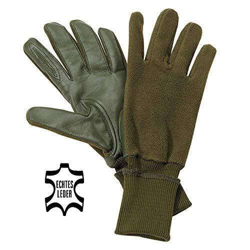 Akah Schießhandschuh Jagdhandschuh Oliv grün mit Schießfinger Fleecehandschuhe für Jäger für Links- & rechtshänder extrem geräuschlos (XL)