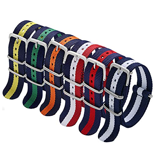 NATO Strap 6 Packs 22mm Watch Band Nylon Replacement Watch Straps for Men (Blue/White/Red+Black/Blue+Black/White+Black/Orange+Blue/Yellow+Blue/Red)