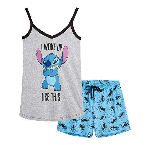 Disney Pijamas Mujer Verano, Conjunto Dos Piezas Pantalones Cortos Mujer y Camiseta Tirantes con Personaje Stitch, Ropa Mujer Vacaciones, Regalos Originales para Mujer Adolescentes