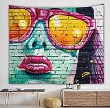 Tapestry Wall Hanging,3D Art Großer Wandteppich Psychedelic Böhmische Hippie Hip Hop Sonnenbrille Graffiti Hängenden Tuch-Gt 727039 - Tapisserie Für Schlafzimmer Wohnzimmer Strand Kissen-100×150Cm
