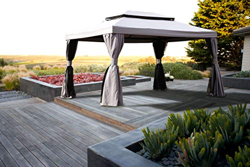 Grand patio 10x13 Feet Patio Gazebo, Outdoor Canopy with Mosquito Netting and Shade Curtains,Sturdy Straight Leg Tent for Backyard & Party & Event, Gray