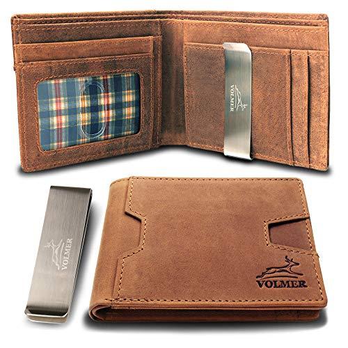 Fa.Volmer® Geldbörse | Portemonnaie aus 100% Leder mit entnehmbarer Geldklammer mit RFID-Schutz | Geldclip, braun, mit Extra-Fach für z.B. Kleingeld | Modell San Francisco
