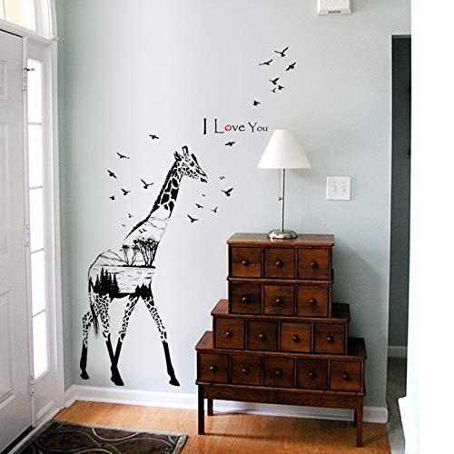 Little Deco Wandaufkleber Kinderzimmer - PVP-Giraffenschwarzweiss-Silhouetten von modernen dekorativen Wandaufklebern