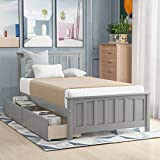 Twin Bed Frame with Drawers, Kids Platform Twin Bed with Storage, Solid Wood, No Box Spring Needed (Light Grey (Drawers))