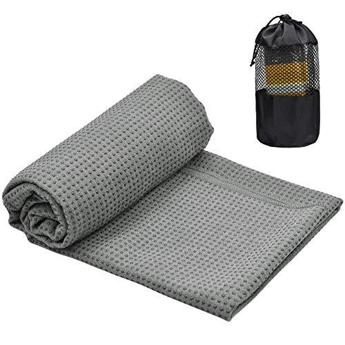 Toalla Yoga Antideslizante para Colchoneta, 183X63cm Toalla de Microfibra para Esterilla Yoga, Absorbente de Sudor Toalla Yoga Grande, Secado Rápido Toalla de Yoga con Bolsa para Bikram Pilates (Gris)