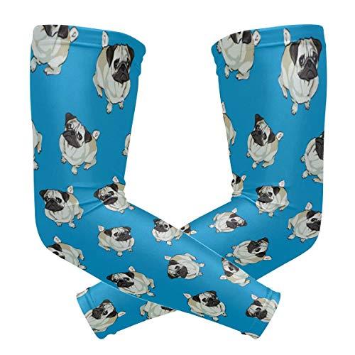 LORONA mangas de compresión para brazos con diseño de perro carlino, color azul, para deportes al aire libre, para hombres, mujeres, jóvenes, para ciclismo, conducción, deportes al aire libre, golf, baloncesto, 1 par