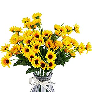 FSALS Sunflowers Artificial Flowers 6 Bouquets Mini Fake Flowers Bundles Floral for Indoor Outdoor Autumn Wedding Banquet Party Decoration