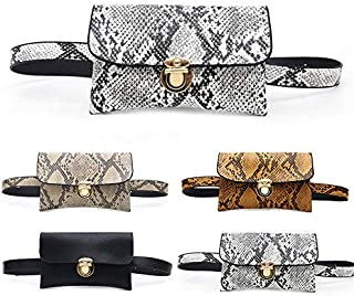 Festnight Ladies Purse,Women Waist Bag PU Leather Snake Pattern Solid Color Fanny Disco Travel Small Mini Fanny Pouch Coin Pack Bum Bag