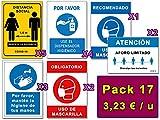 Señalización Coronavirus | Pack Esencial de 17 Señales para Covid-19 | 5 Distancia, 4 Dispensador, 3 Higiene Manos, 3 Mascarilla, 2 Aforo | Autoinstalables| 21x30 cm | Dtos. Cantidad