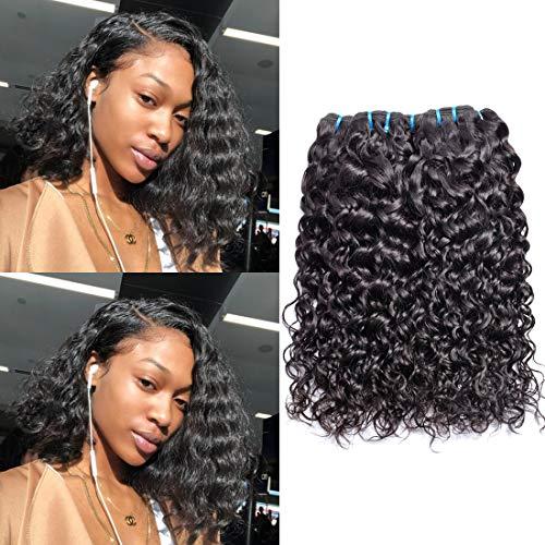 Ms Sunlight Hair Brazilian Water Wave Virgin Hair 3 Bundles 9A Wet and Wavy Human Hair Weave Bundles 100% Unprocessed Virgin Brazilian Human Hair Bundles Natural Color(10 10 10)