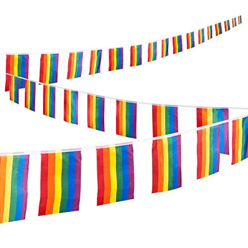 Juvale Regenbogenflaggen-Girlande 32 kleine Flaggen als Girlande - LGBT-Dekoration für Veranstaltungen wie CSD, Spenden-Events, Partys - Reißfest und Farbecht - Polyester - 37,4 cm