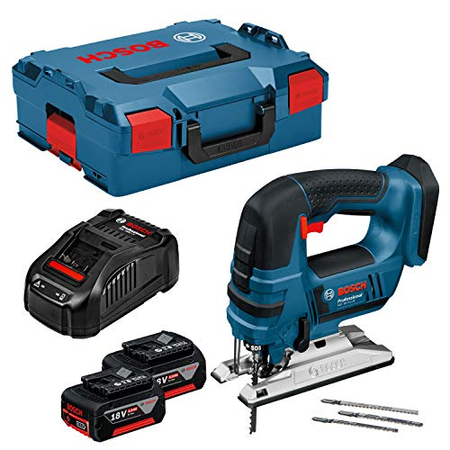 Bosch Professional 06015A6103 GST 18 V-LI B Akku-Stichsäge, 2 x 5, 0 Ah Akku, Schnellladegerät, 3x Stichsägeblatt, L-Boxx (18V, Schnitttiefe Holz: 120mm; ALU: 20mm; Metall: 8mm), 0 W, 18 V, 42922