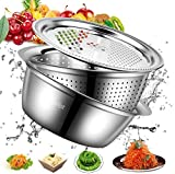 salipt 10 Inch 2021 new upgrade thickened basin type kitchen grater cheese grater julienne peeler,stainless steel drain basket vegetable chopper, 3-in-1 kitchen multifunctional vegetable cutter