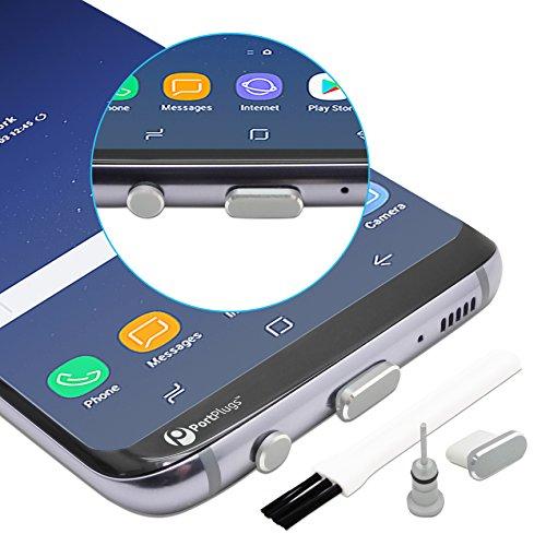 PortPlugs - USB C Aluminum Dust Plug Set - Charging Port Headphone Jack Integrated SIM Tool - Includes Holders Cleaning Brush (Silver)