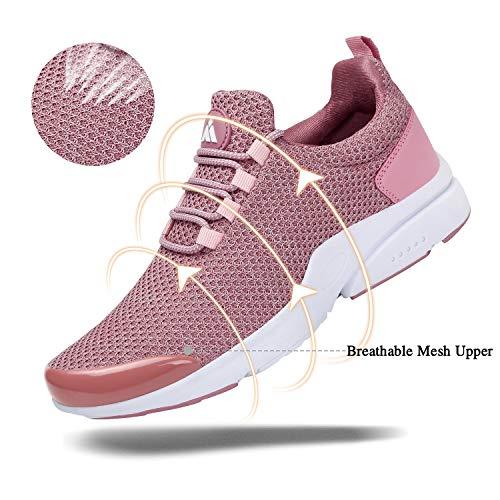 Mishansha Zapatillas de Masculino Femenino Ligero Suave Malla Transpirable Lace Up Zapatos para Caminar Gimnasia Trainers Primavera Verano 2020 Cómoda Atléticos Calzados, Sneaker Rosa 42