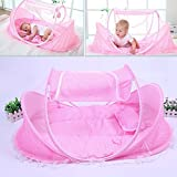 AUTOLOVER Baby Travel Bed,Baby Bed Portable Folding Baby Crib Mosquito Net Portable Baby Cots Newborn Foldable Crib(Pink)
