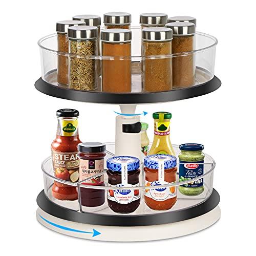 Lazy Susan Plateau tournant à 2 niveaux réglable en hauteur pour armoire de cuisine, étagère à épices en plastique, étagère de...