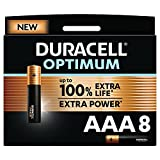 Duracell - NOUVEAU Piles alcalines AAA Optimum, 1.5 V LR03 MX2400, paquet de 8