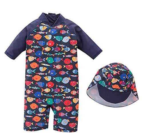 DNggAND Baby Toddler Boys One Piece Swimsuit Rainbow Fish Printed Bathing Suit Swimwear with Hat Rash Guard Surfing Suit UPF 50+ (Rainbow Fish, 18-24 Months)