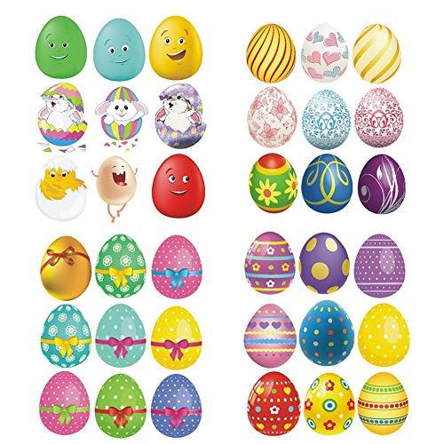 LINKLANK Pegatinas de Pascua para decoración de pared, diseño de huevos de Pascua, autoadhesivas, para pared, nevera, puerta o habitación