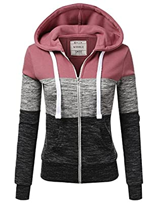Doublju Lightweight Thin Zip-Up Hoodie Jacket for Women with Plus Size Begoniapink 3X from