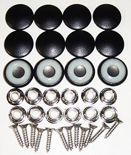 Set Of 12 Dura Snap Upholstery Buttons #36 Black Vinyl