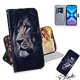 Bluehare Hülle für Huawei Honor 8X, Handyhülle Tasche Premium PU Leder Flip Wallet Hülle Schutzhülle mit [Standfunktion] [Kartenfächern] [Magnetic Closure Snap] - löwe