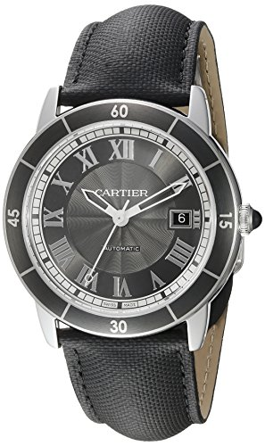 Cartier orologio da polso uomo 42mm Bracciale Aliga Tor in pelle nero...