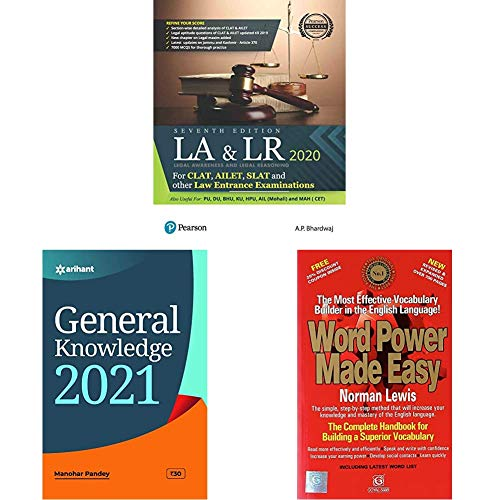Legal Awareness and Logical Reasoning 2020 | CLAT, AILET, SLAT and Other Law Entrance Examiations | Useful for PU,DU,BHU,KU,HPU,AIL | Seventh Edition ... 2021+Word Power Made Easy(Set of 3 books)