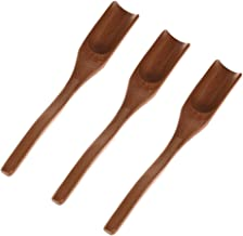 UTENEW 3 Pieces Wooden Loose Tea Scoops, Natural Bamboo Wood Spoons for Scooping Coffee Powder, Spices and Condiments, Long Handle 7