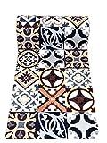De'Carpet PASILLERA A Medida Textil Alfombra Lavable Antideslizante BALDOSA HIDRAULICA MATIS(65cm Ancho) (1 Metro)