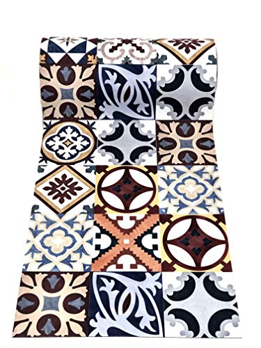 De'Carpet PASILLERA A Medida Textil Alfombra Lavable Antideslizante BALDOSA HIDRAULICA MATIS(65cm Ancho) (1,5 Metros)